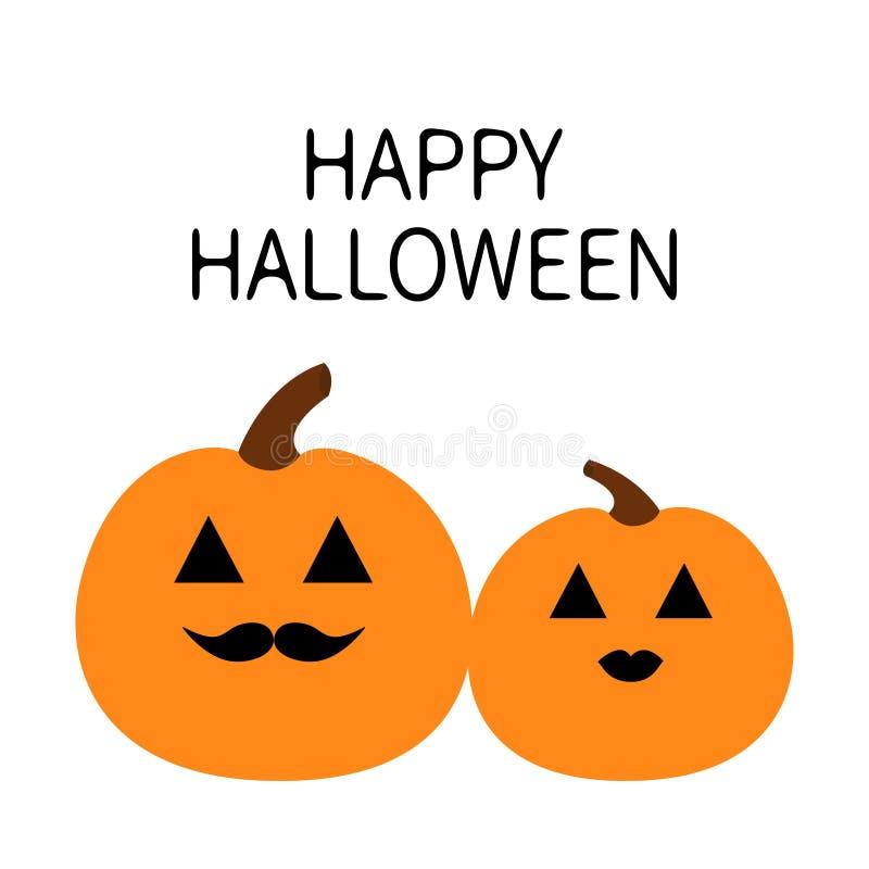 Pares del amor de la familia de la calabaza del feliz Halloween Cara sonriente espeluznante divertida Labios y bigotes Carácter l ilustración del vector