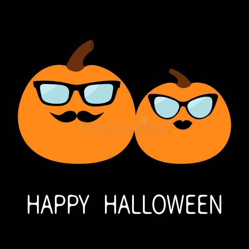 Pares del amor de la familia de la calabaza del feliz Halloween Cara sonriente espeluznante divertida Labios y bigotes Gafas de s stock de ilustración