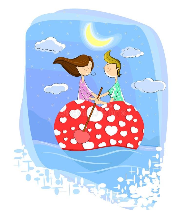 Pares del amor en el barco en forma de corazón stock de ilustración