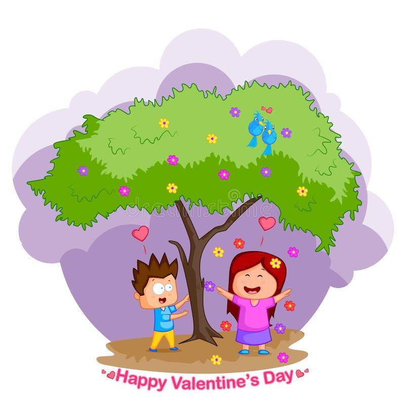Pares del amor en el día de tarjeta del día de San Valentín stock de ilustración