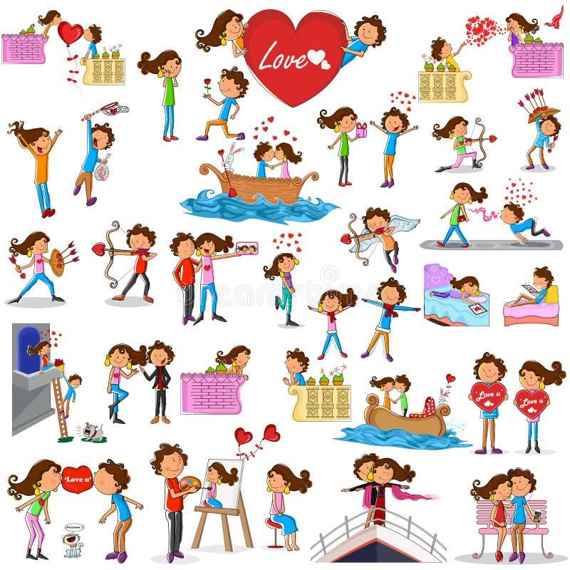 Pares del amor que hacen diversas actividades ilustración del vector