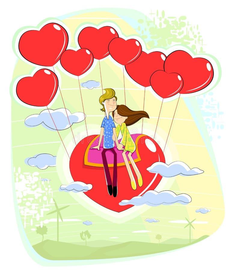 Pares del amor que se sientan en corazón stock de ilustración