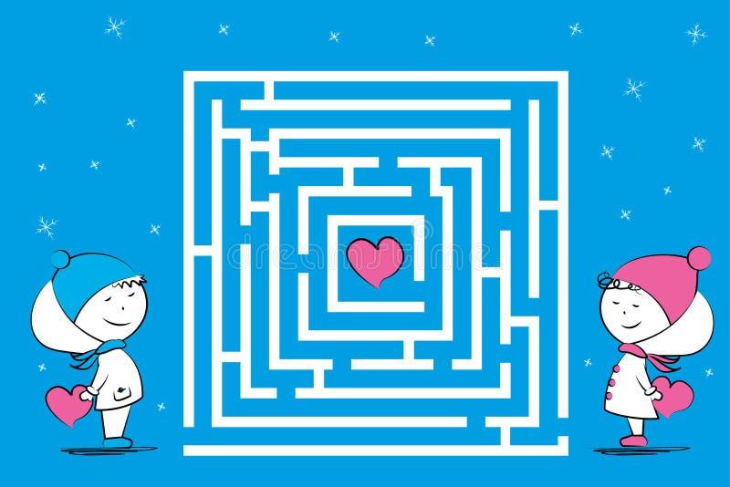 Pares del amor y juego del laberinto con los corazones, caracteres divertidos en invierno ilustración del vector