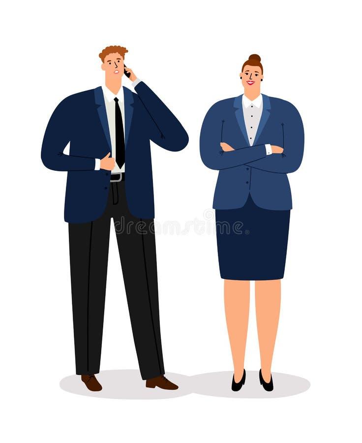 Pares del asunto Hombre de negocios ejecutivo joven y empresaria satisfecha profesional aislados en el fondo blanco ilustración del vector