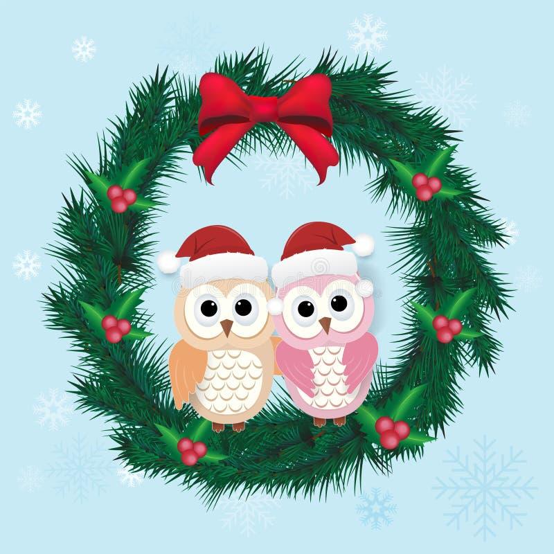 Pares del búho de la tarjeta de felicitación guirnalda y del pino lindos de la Navidad stock de ilustración
