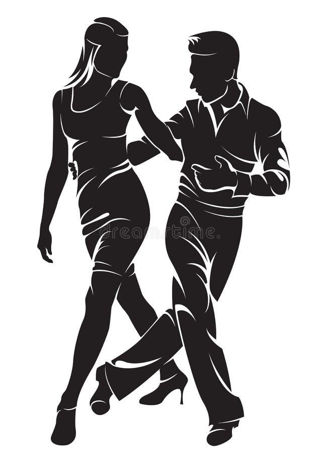 Pares del baile? aislados en blanco ilustración del vector