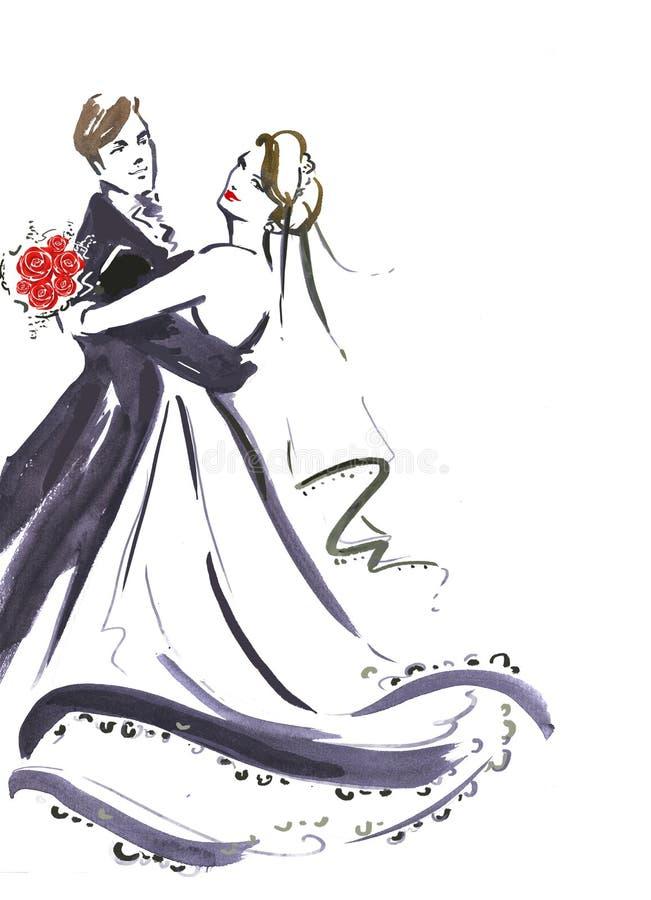 Pares del baile de la boda Silueta de la novia y del novio Invitación de la boda Invitación de boda Fondo de la boda Quiera los p stock de ilustración