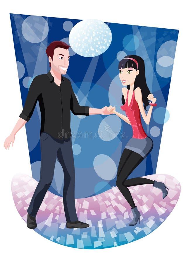 Pares del baile en el discoteque stock de ilustración