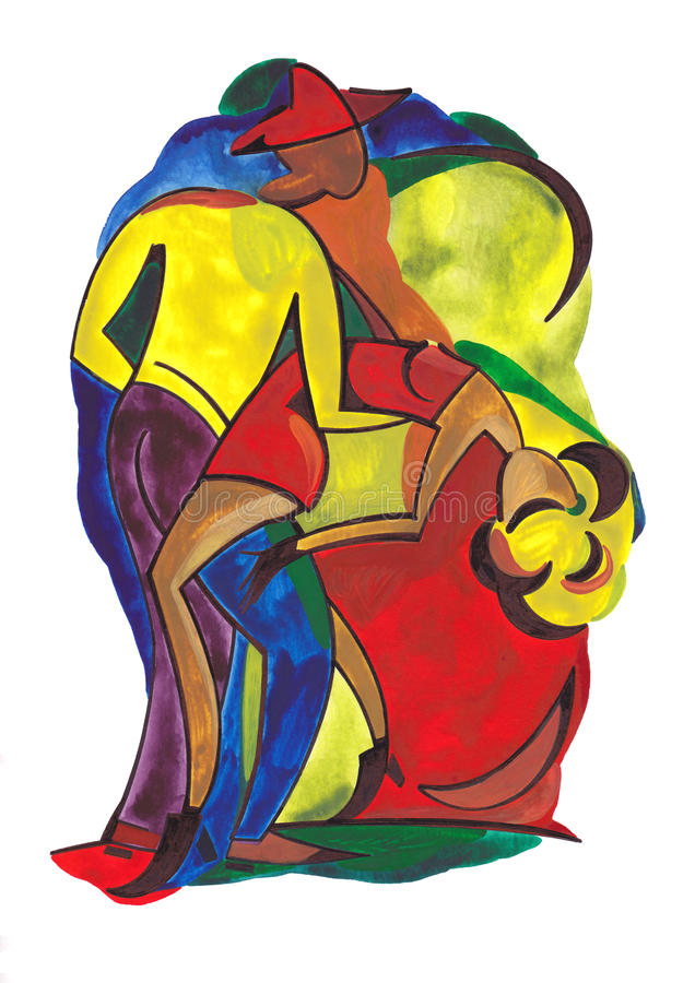 Pares del baile en estilo abstracto stock de ilustración
