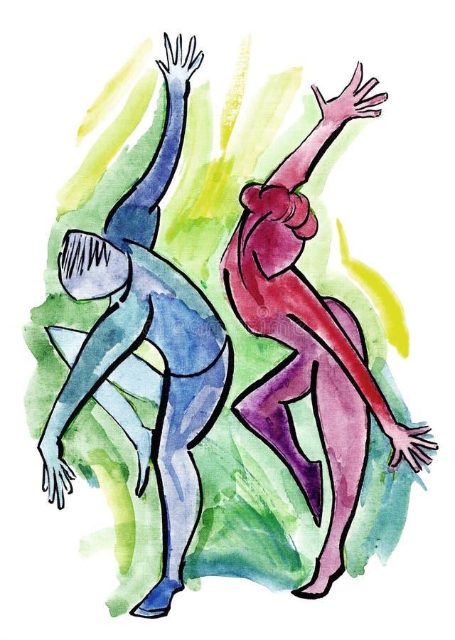 Pares del baile en estilo abstracto ilustración del vector