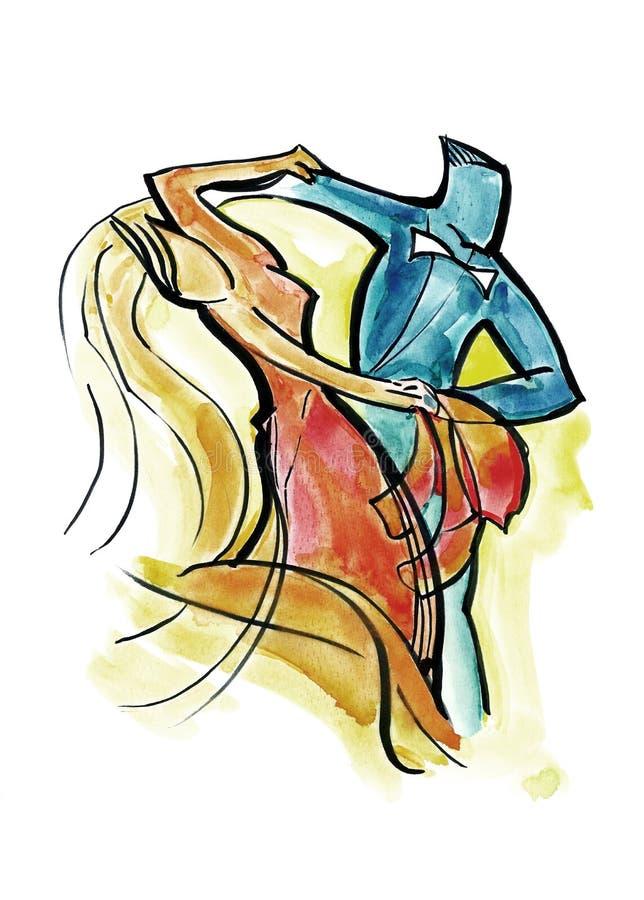 Pares del baile en estilo abstracto libre illustration