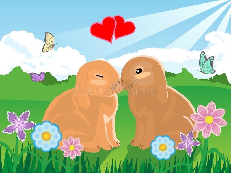 Pares del conejito de la tarjeta del día de San Valentín stock de ilustración