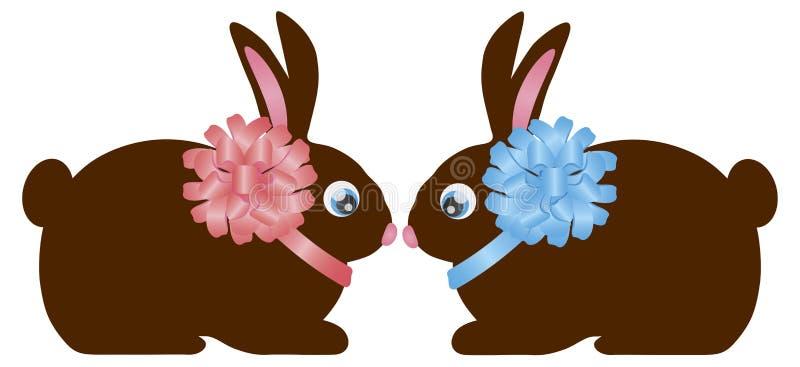 Pares del conejo de conejito del chocolate del día de Pascua libre illustration