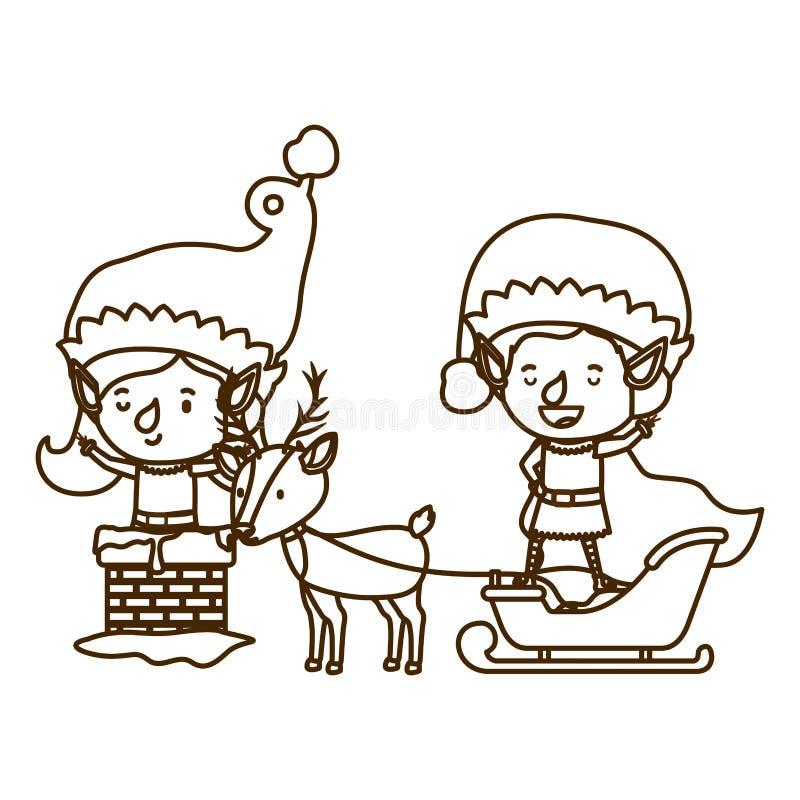 Pares del duende con el chatacter del avatar del trineo y del trineo del reno libre illustration