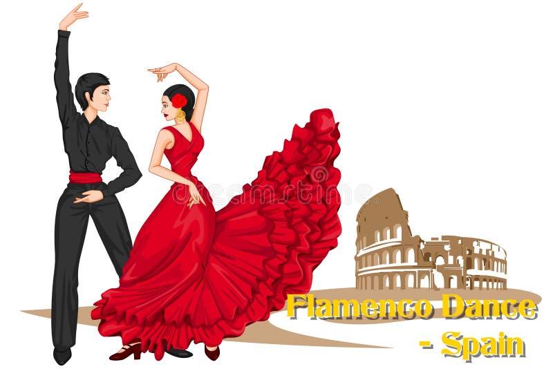 Pares del español que realizan la danza del flamenco de España stock de ilustración