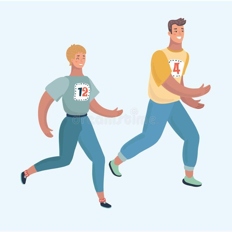 Pares del hombre y de la mujer que corren junto jogging libre illustration