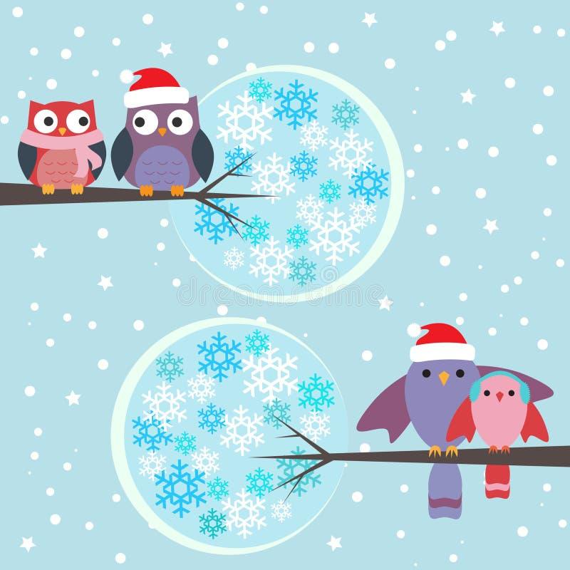 Pares del invierno de los buhos y de los pájaros stock de ilustración