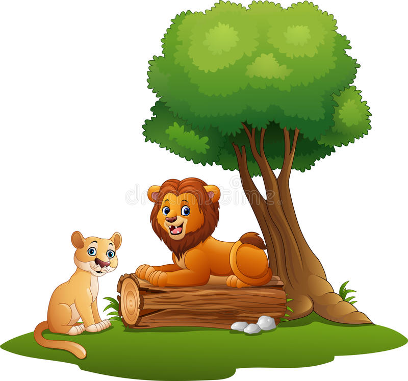 Pares del león de la historieta en la selva ilustración del vector