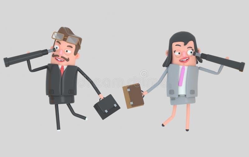 Pares del negocio que miran adelante en los catalejos ilustración 3D stock de ilustración