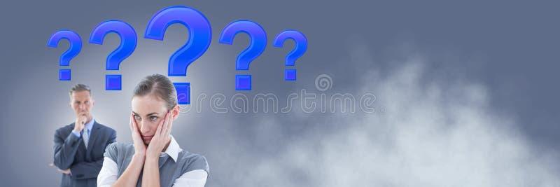 Pares del negocio que piensan con los signos de interrogación púrpuras libre illustration
