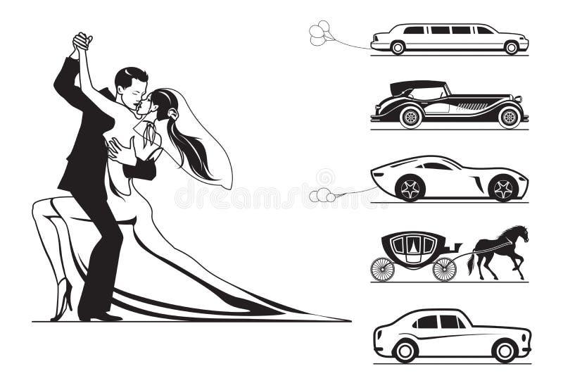 Pares del novio y de la novia con los coches de la boda libre illustration