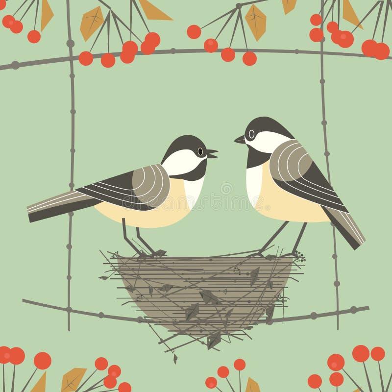 Pares del pájaro del Chickadee libre illustration