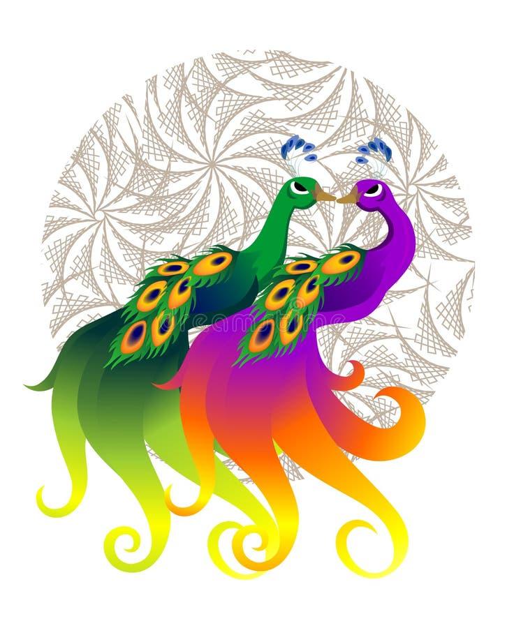 Pares del pavo real ilustración del vector