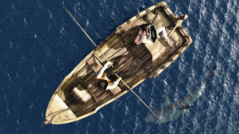 Pares del pirata en bote de remos de gastos indirectos libre illustration