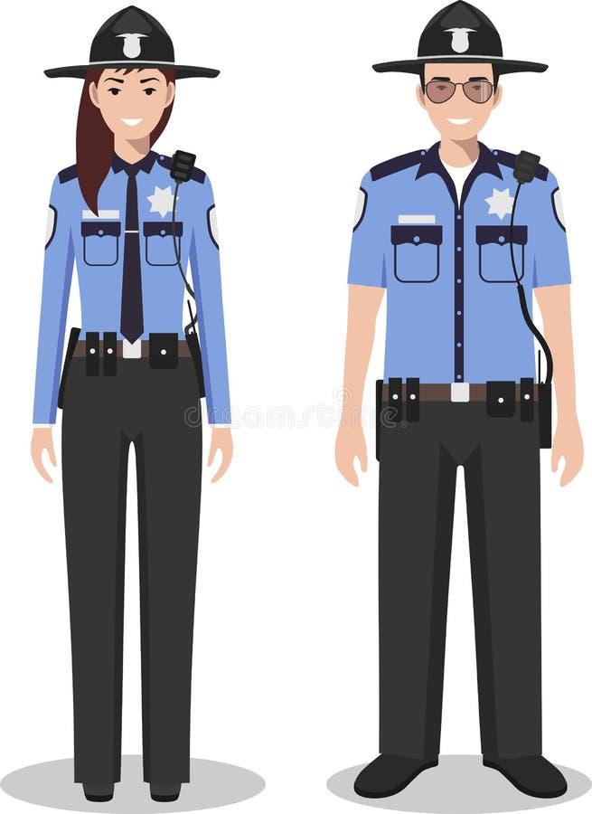 Pares del policía americano y de la mujer policía que se unen en el fondo blanco en estilo plano Concepto de los E.E.U.U. de la p libre illustration