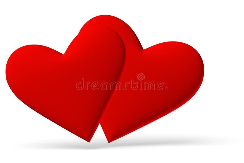 Pares del símbolo rojo de los corazones ilustración del vector