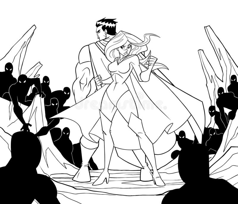 Pares del super héroe de nuevo a la línea arte trasera ilustración del vector