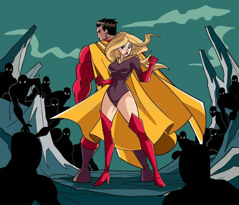 Pares del super héroe de nuevo a la parte posterior stock de ilustración