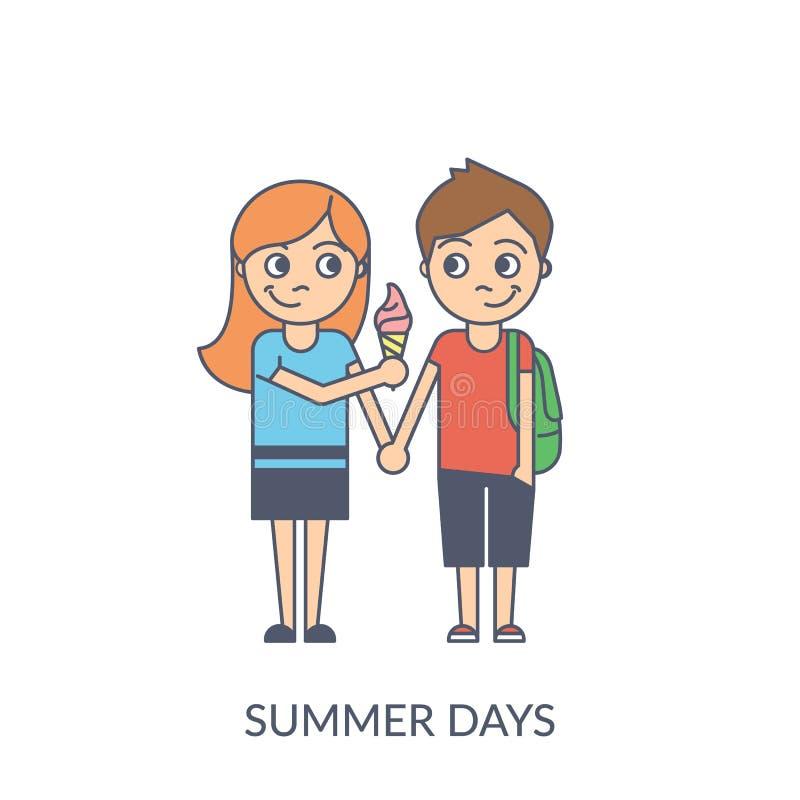 Pares del verano Ejemplo plano del vector de la historieta de la chica joven stock de ilustración