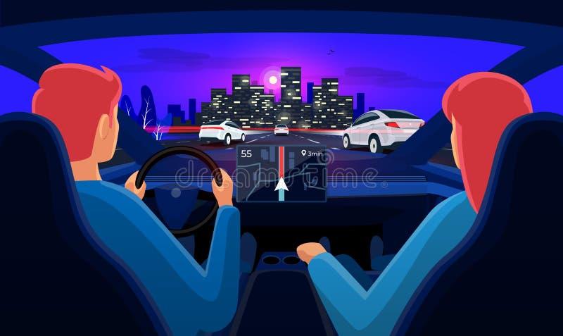 Pares dentro do interior do carro no engarrafamento da estrada da viagem por estrada com skyline da cidade da noite ilustração royalty free
