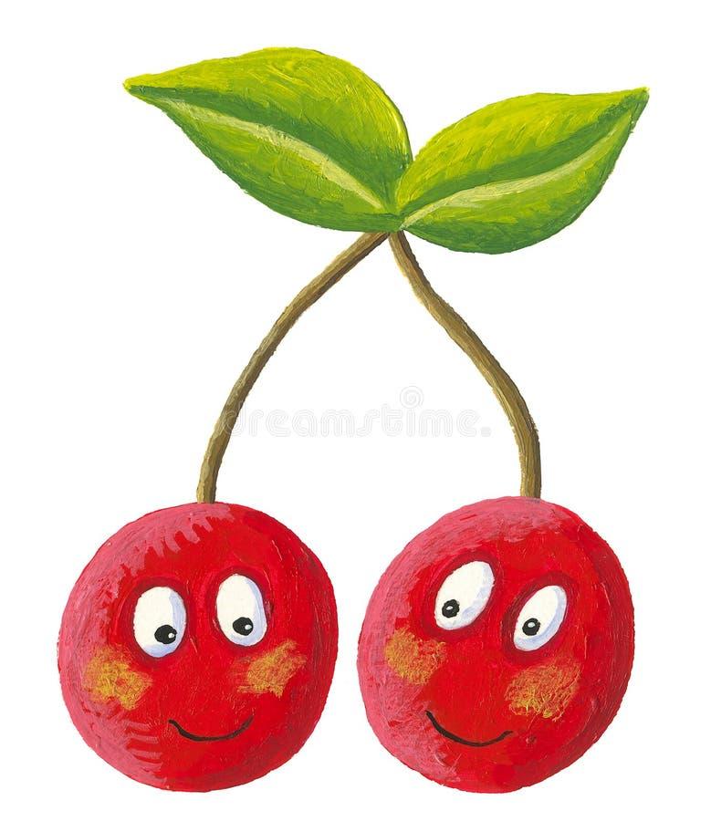 Pares divertidos de cerezas con la cara stock de ilustración