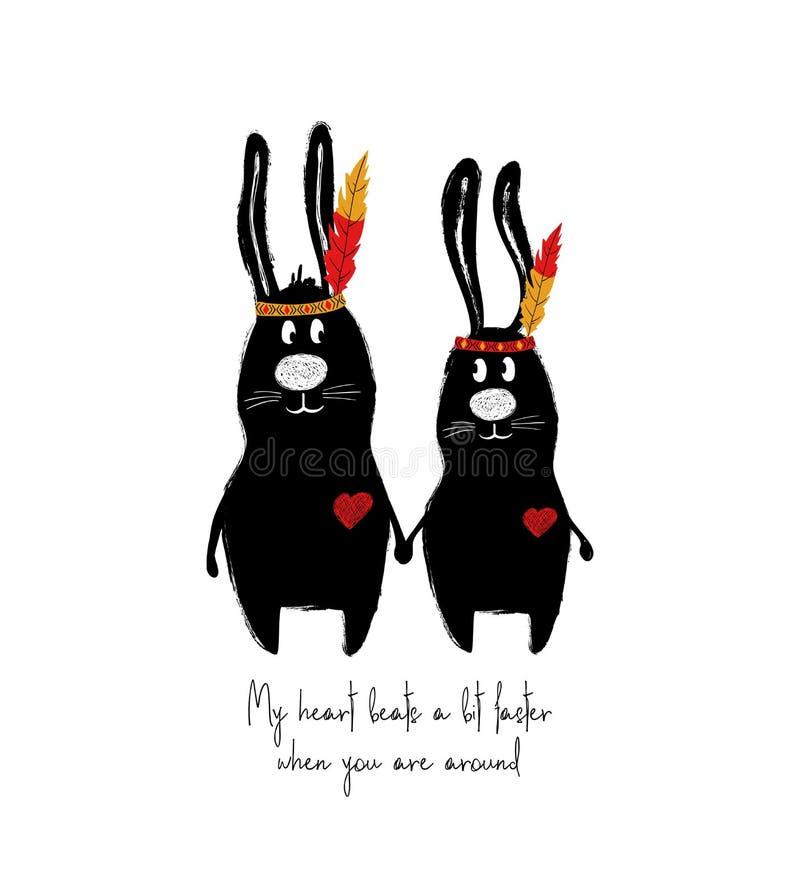 Pares divertidos de conejos en amor stock de ilustración