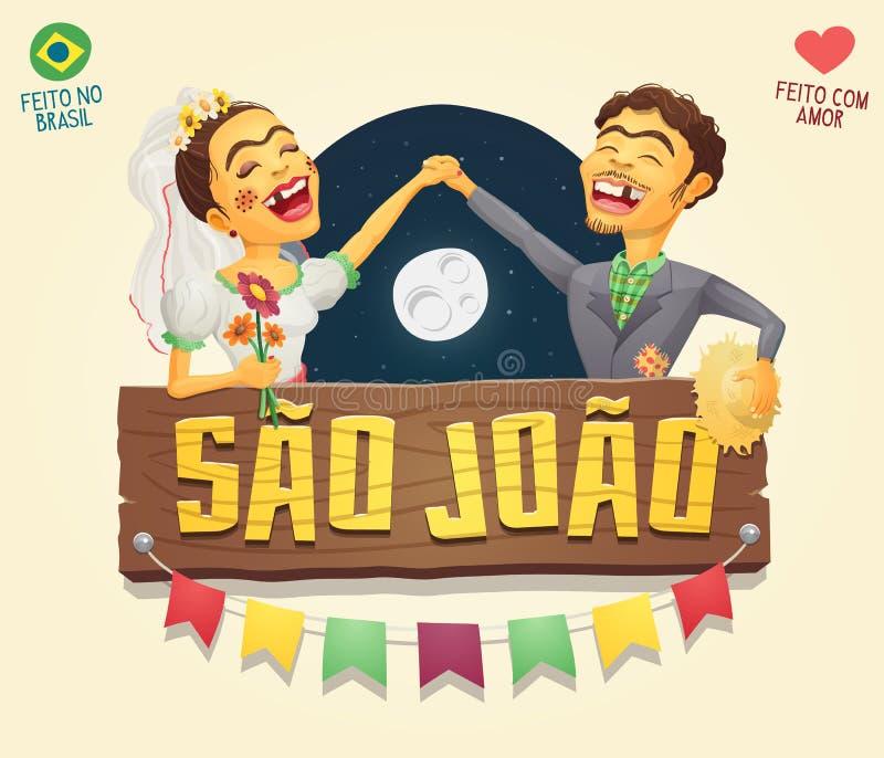 Pares do aldeão do partido de Joao Saint John Brazilian June do Sao com madeira ilustração stock