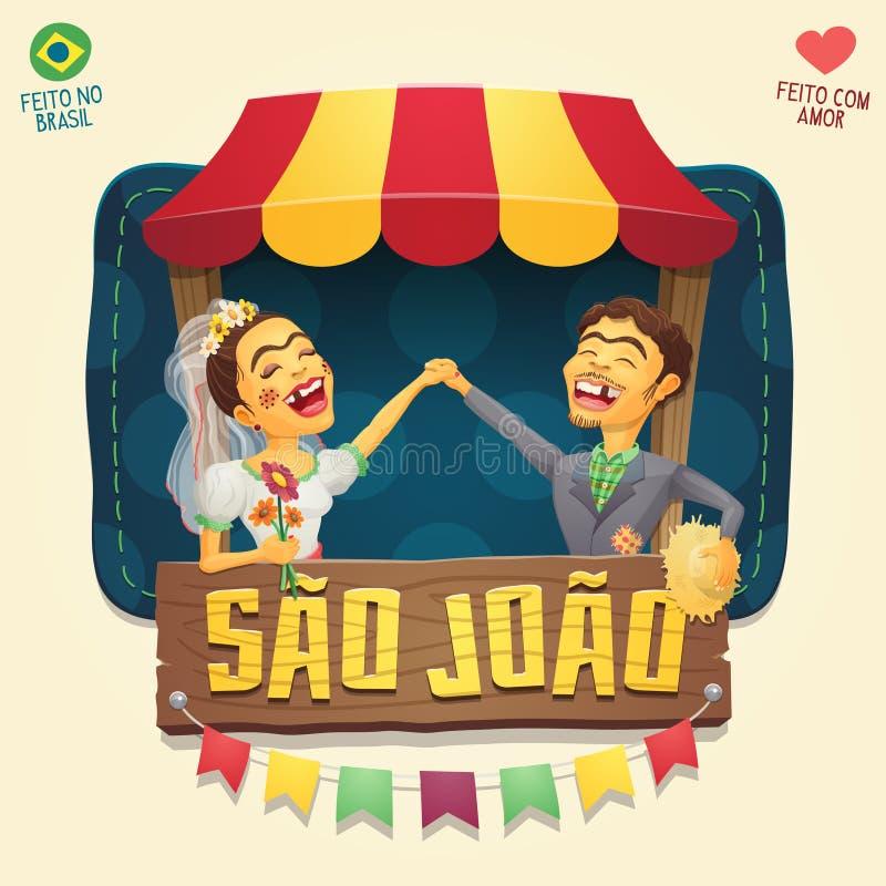 Pares do aldeão do partido de Joao Saint John Brazilian June do Sao na parte dianteira ilustração stock