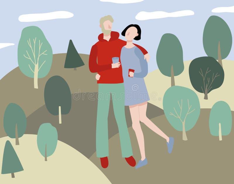 Pares do amor dos desenhos animados no fundo do parque Vetor ilustração royalty free