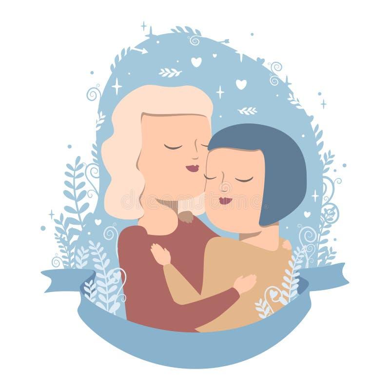 Pares do amor nos abraços ilustração royalty free