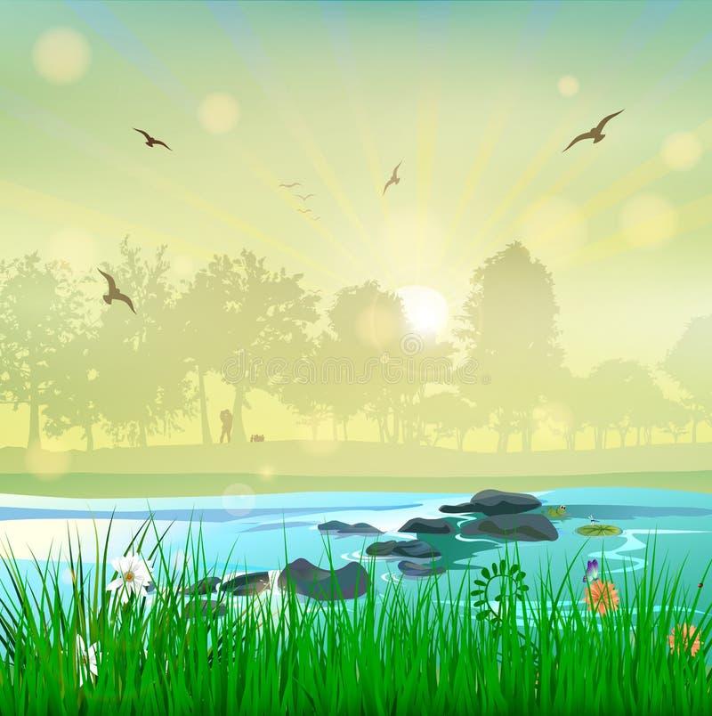 Pares do amor do por do sol da paisagem da natureza da harmonia ilustração royalty free