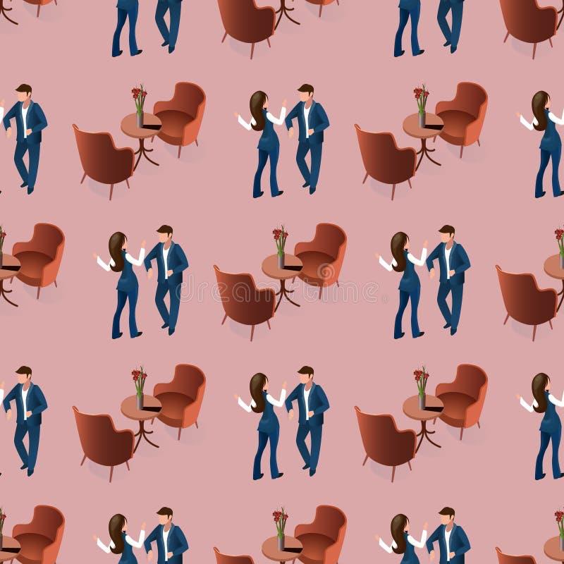Pares do amor que datam no teste padrão sem emenda do restaurante ilustração stock
