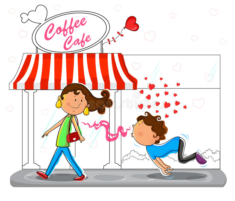 Pares do amor que flertam na frente do café do café ilustração do vetor