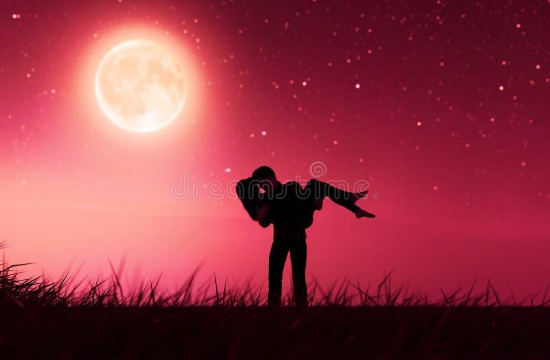 Pares do amor sob o luar ilustração do vetor