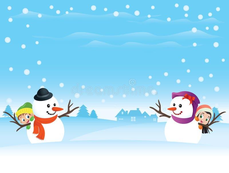 Pares do boneco de neve com miúdos ilustração royalty free