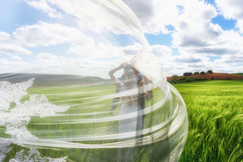 Pares do casamento cobertos com um grande véu bordado bonito imagens de stock royalty free