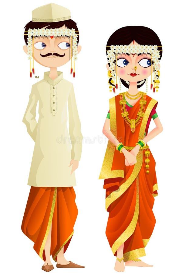 Pares do casamento de Maharashtrian ilustração royalty free