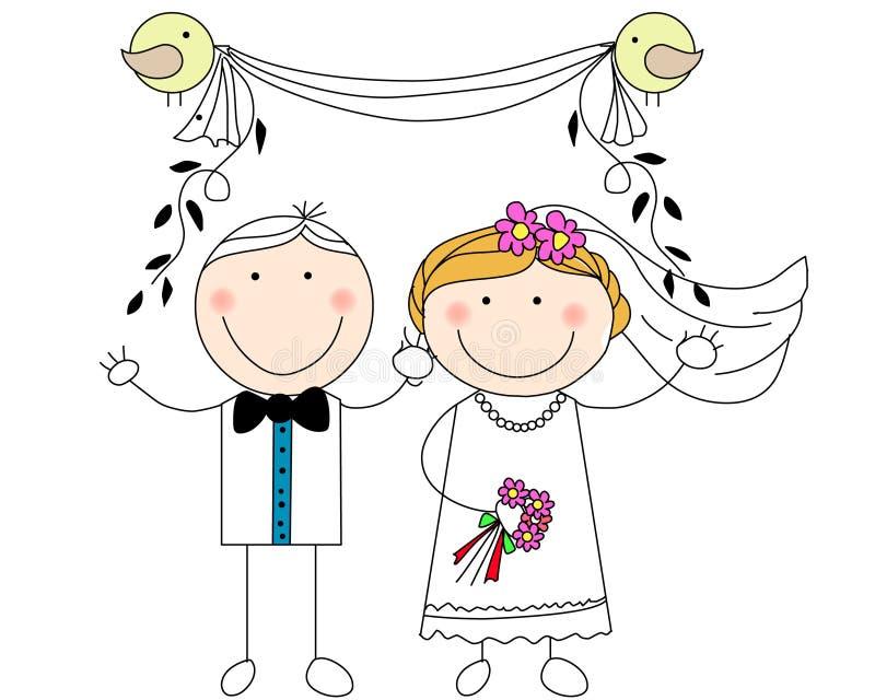 Pares do casamento do Doodle ilustração stock