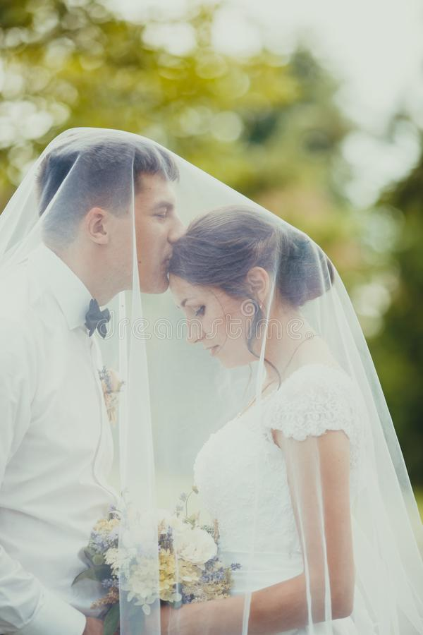 Pares do casamento exteriores sob o véu bradal foto de stock