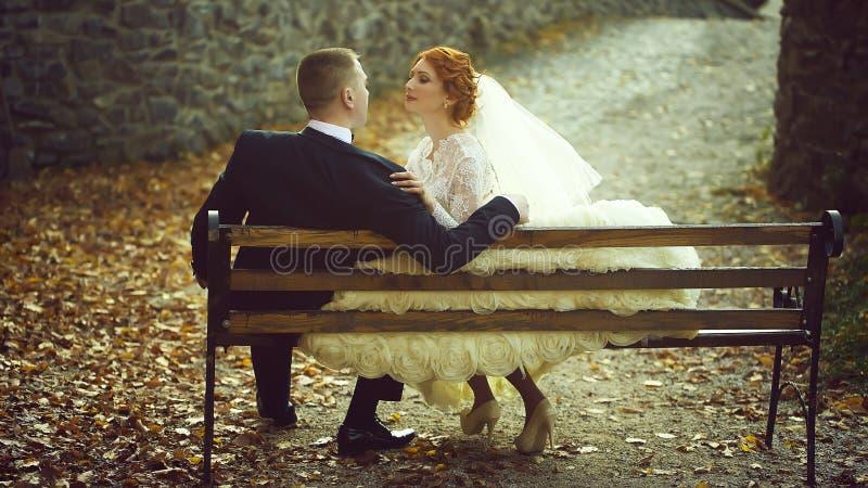 Pares do casamento no banco fotografia de stock